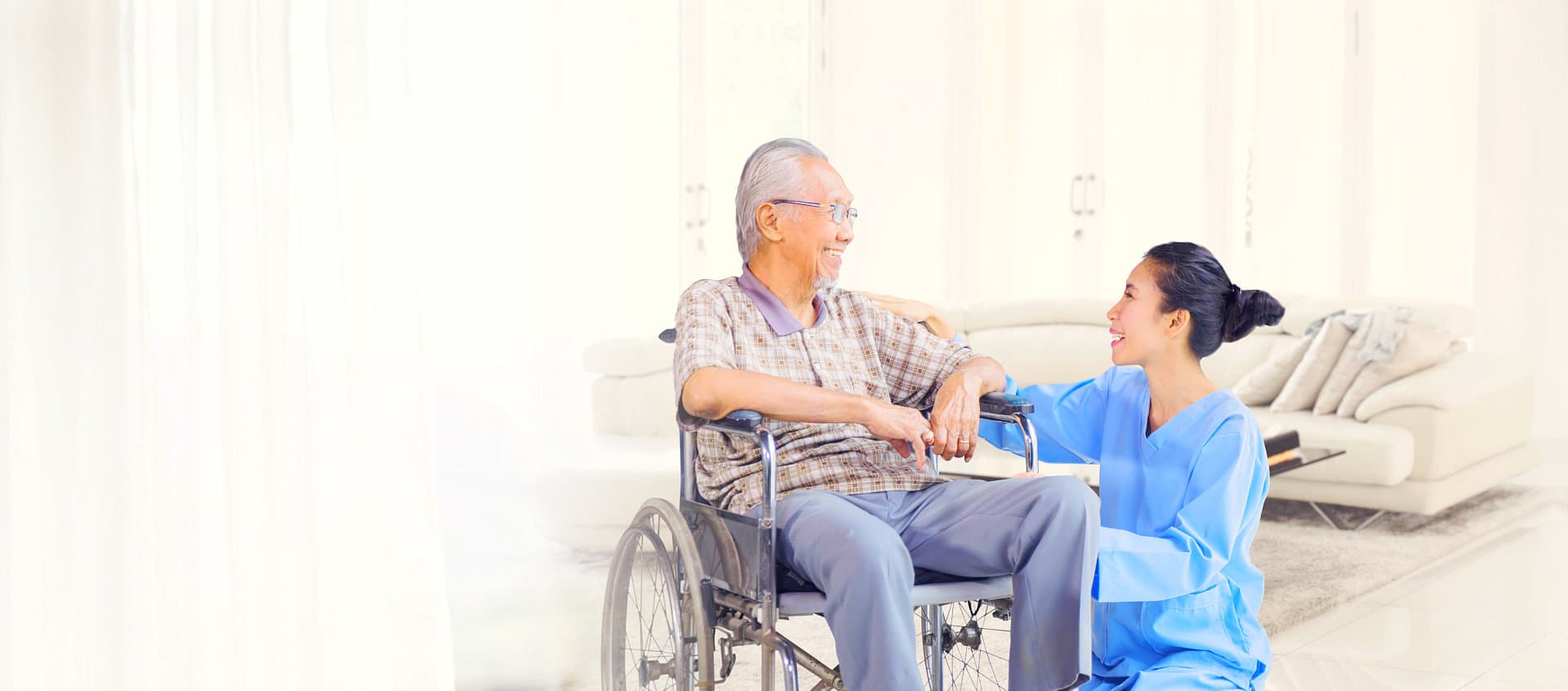 caregiver and patient talking